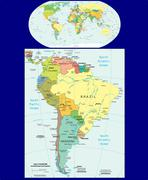 World South America political map - stock illustration