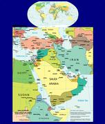 World Middle East political mapscounties emblem motto - stock illustration