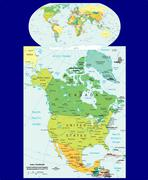 World North America political map - stock illustration