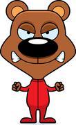 Cartoon Angry Bear In Pajamas - stock illustration