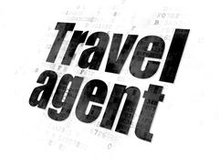 Stock Illustration of Vacation concept: Travel Agent on Digital background