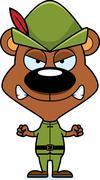 Cartoon Angry Robin Hood Bear - stock illustration