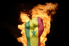 fire fist with the national flag of senegal - stock photo