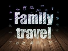 Vacation concept: Family Travel in grunge dark room - stock illustration