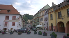 Scolii Street seen from the Fortress Square, Sighisoara Stock Footage