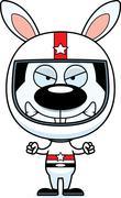 Cartoon Angry Race Car Driver Bunny - stock illustration