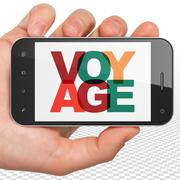 Stock Illustration of Tourism concept: Hand Holding Smartphone with Voyage on  display