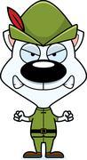 Cartoon Angry Robin Hood Kitten - stock illustration