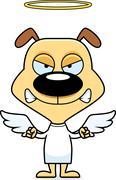 Cartoon Angry Angel Puppy - stock illustration