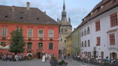 Fortress Square and the Clock Tower in Sighisoara Stock Footage