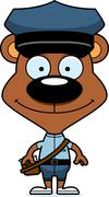 Stock Illustration of Cartoon Smiling Mail Carrier Bear