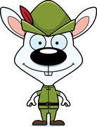 Cartoon Smiling Robin Hood Bunny - stock illustration