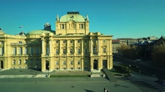 Croatian national theater in Zagreb - aerial Stock Footage