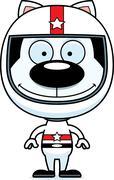 Cartoon Smiling Race Car Driver Kitten Stock Illustration