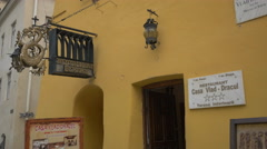 The entrance to 'Casa Vlad Dracul' Restaurant, Sighisoara Stock Footage