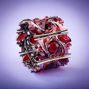 Beautiful bracelet on color background - stock photo