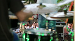 Band rehearsal before concert in nature Stock Footage