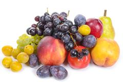 seasonal fruits, grapes, plums, pears isolated on a white background - stock photo