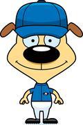 Cartoon Smiling Baseball Player Puppy - stock illustration