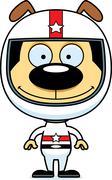 Cartoon Smiling Race Car Driver Puppy Stock Illustration