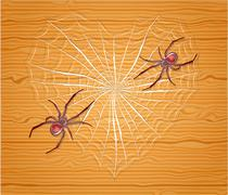Stock Illustration of Spiders with heart.