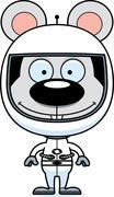 Cartoon Smiling Astronaut Mouse - stock illustration