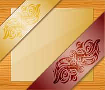 Wood background with ribbons and paper. Stock Illustration