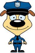 Cartoon Smiling Police Officer Puppy - stock illustration