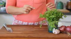How to chopped parsley Stock Footage