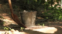 steel  pail and shovel - stock footage