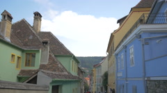 Turnului Street with old houses, Sighisoara Stock Footage