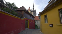View of the Clock Tower from the Citadel street, Sighisoara Stock Footage