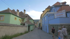 View of Turnului street, Sighisoara Stock Footage