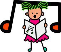 Singing Girl - stock illustration