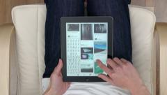Point of view shot of browsing Pinterest pins on an iPad - stock footage