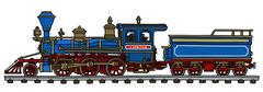 Old blue american steam locomotive - stock illustration