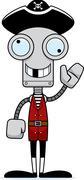 Cartoon Silly Pirate Robot - stock illustration