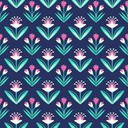 Seamless pattern with decorative floral ornament on dark blue background - stock illustration