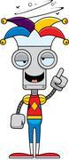 Cartoon Drunk Jester Robot - stock illustration