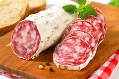 French Saucisson Sec - studio shot Stock Photos