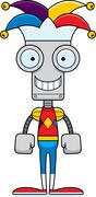 Cartoon Smiling Jester Robot - stock illustration