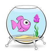 Pink fish in fishbowl Piirros
