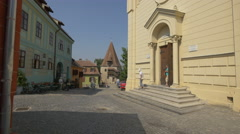 Zidul Cetatii Street with important buildings in Sighisoara Stock Footage