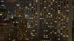 Chicago night highrise city lights Stock Footage
