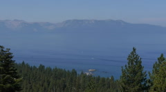 Lake Tahoe Wide Shot with Boats Crossing Stock Footage