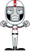 Cartoon Angry Race Car Driver Robot - stock illustration