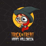 Halloween Trick or Treat Witch Costume Stock Illustration