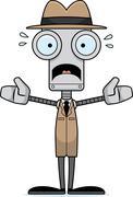 Cartoon Scared Detective Robot - stock illustration