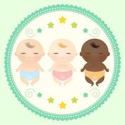 Multicultural babies sleeping. - stock illustration
