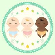 Multicultural babies sleeping. Stock Illustration